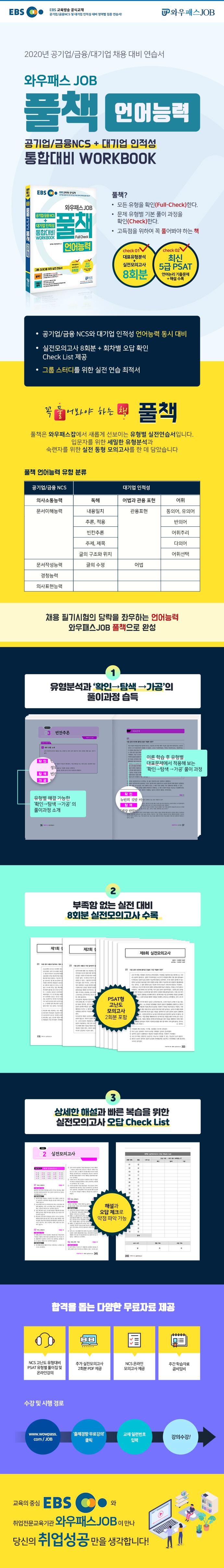 공기업/금융 NCS + 대기업 인적성 통합대비 Workbook 풀책 언어능력(EBS 와우패스 JOB) 도서 상세이미지