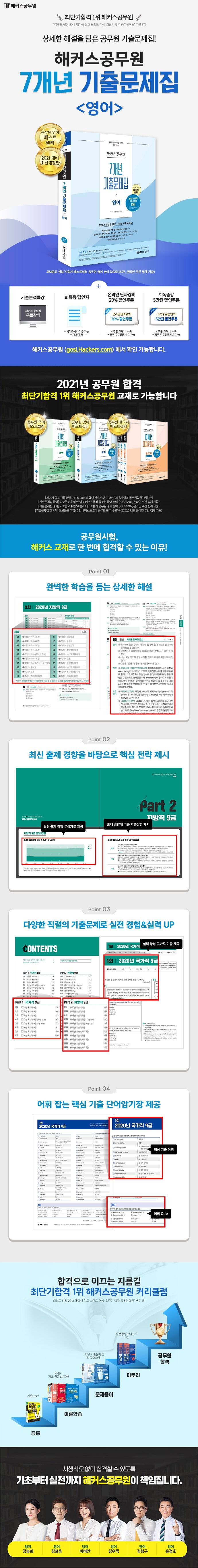 영어 7개년 기출문제집(2021)(해커스공무원)(개정판) 도서 상세이미지