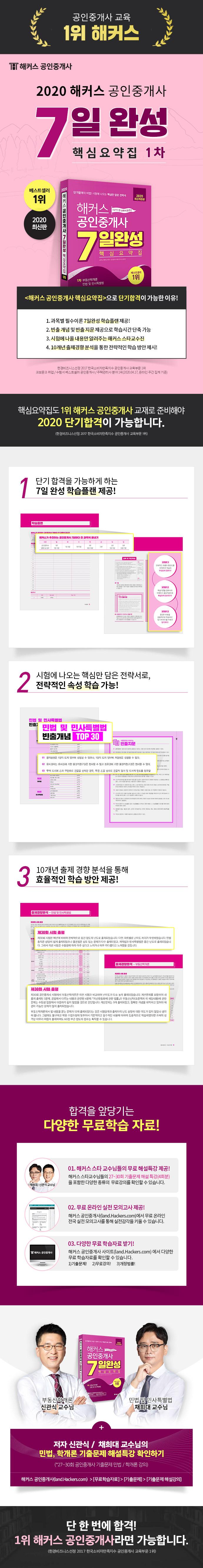 공인중개사 1차 7일완성 핵심요약집(2020)(해커스) 도서 상세이미지