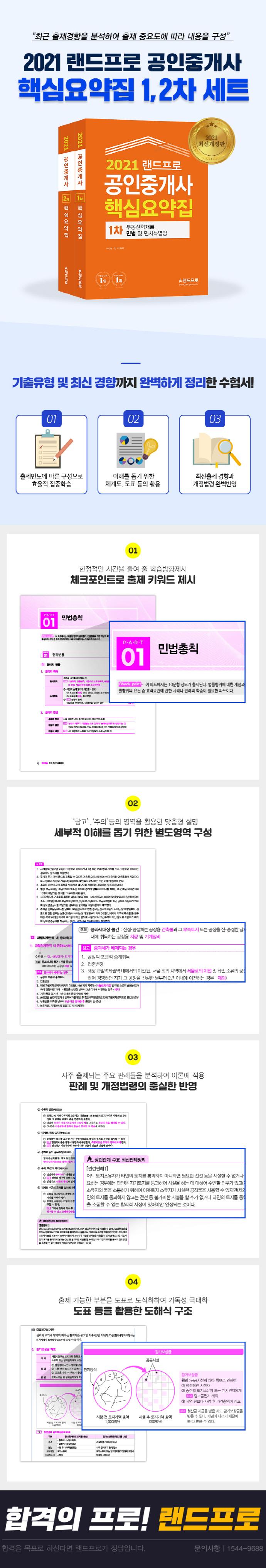 공인중개사 1 2차 핵심요약집 세트(2021)(랜드프로)(전2권) 도서 상세이미지