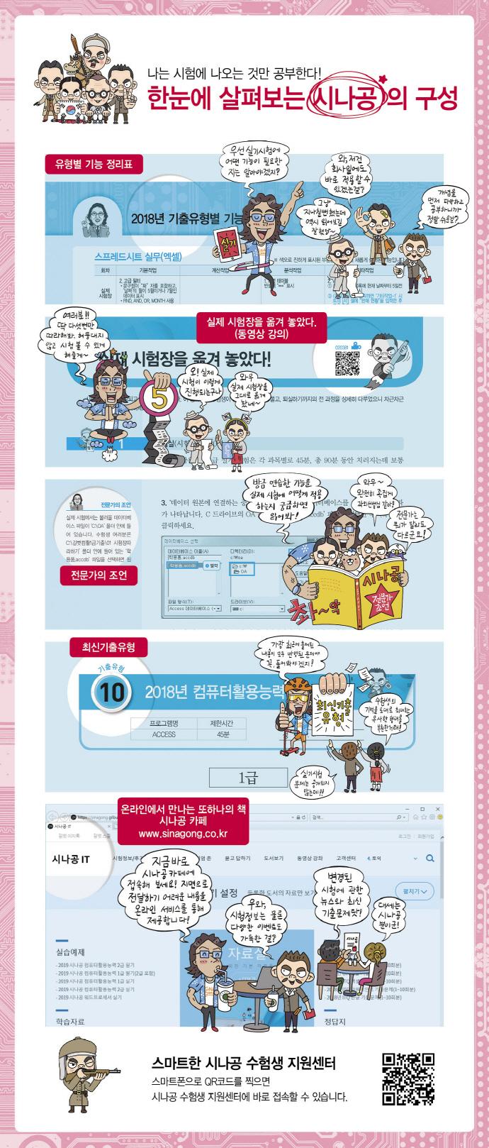 컴퓨터활용능력 1급 실기 기출문제집(2019)(시나공) 도서 상세이미지