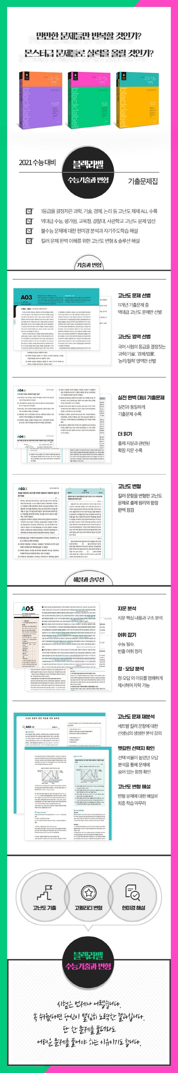 블랙라벨 수능기출과 변형 고등 국어 독서 고난도 제재(2020)(2021 수능대비) 도서 상세이미지