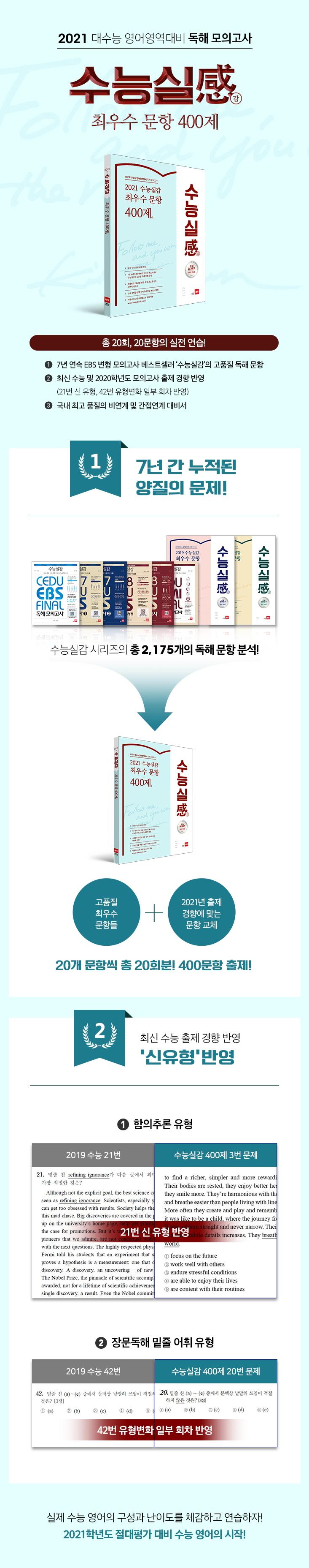 고등 최우수 문항 400제(2021)(수능실감) 도서 상세이미지