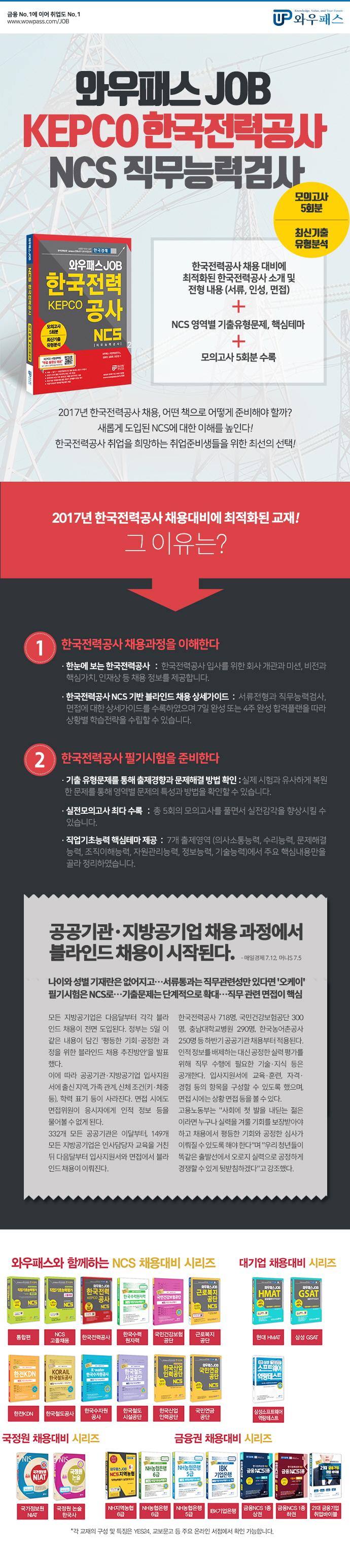 한국전력공사 NCS 직무능력검사 모의고사 5회분 + 최신기출유형분석(와우패스 Job) 도서 상세이미지