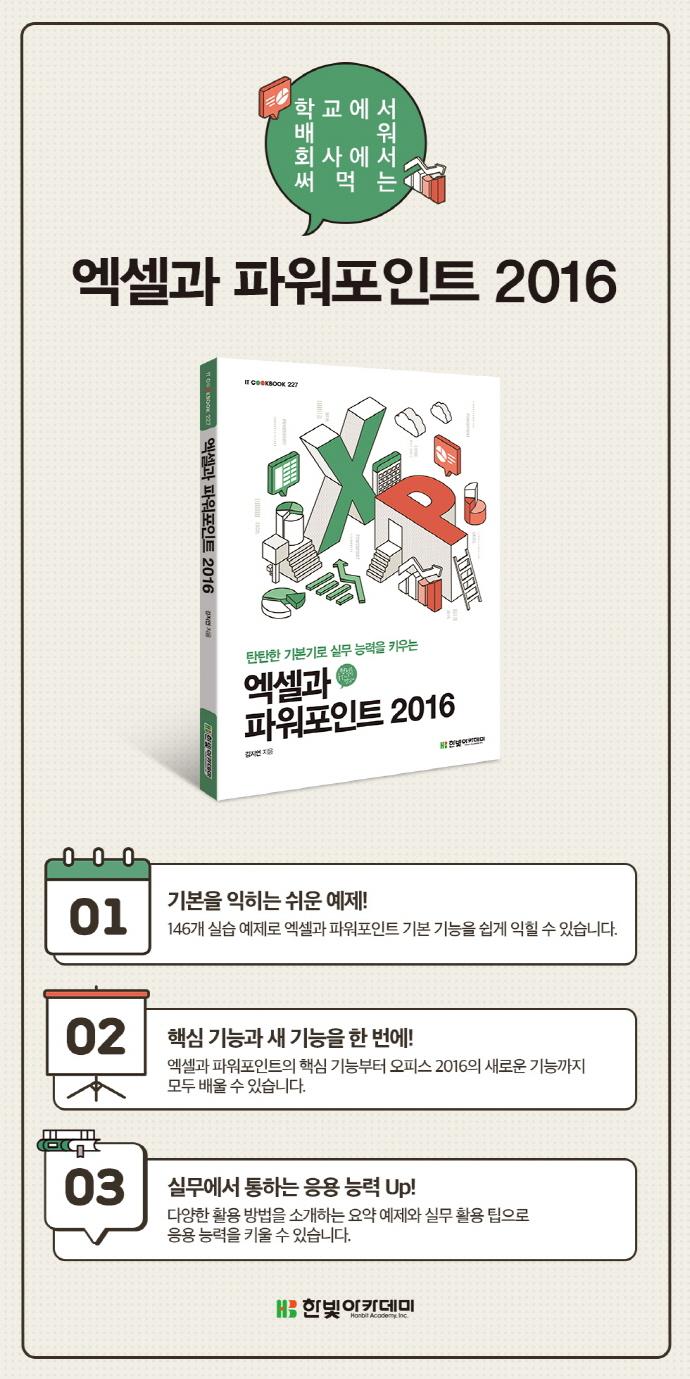 엑셀과 파워포인트 2016(탄탄한 기본기로 실무 능력을 키우는)(IT CookBook 227) 도서 상세이미지