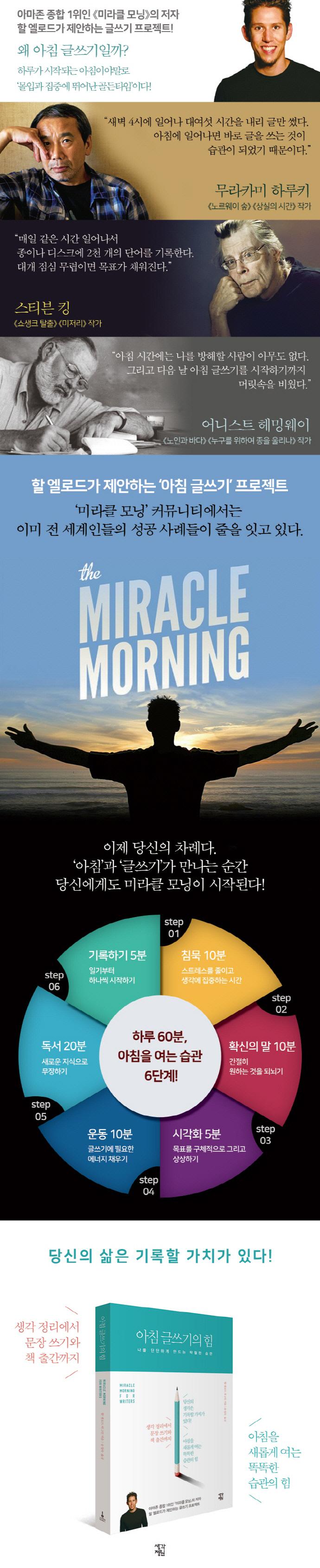 아침 글쓰기의 힘 도서 상세이미지