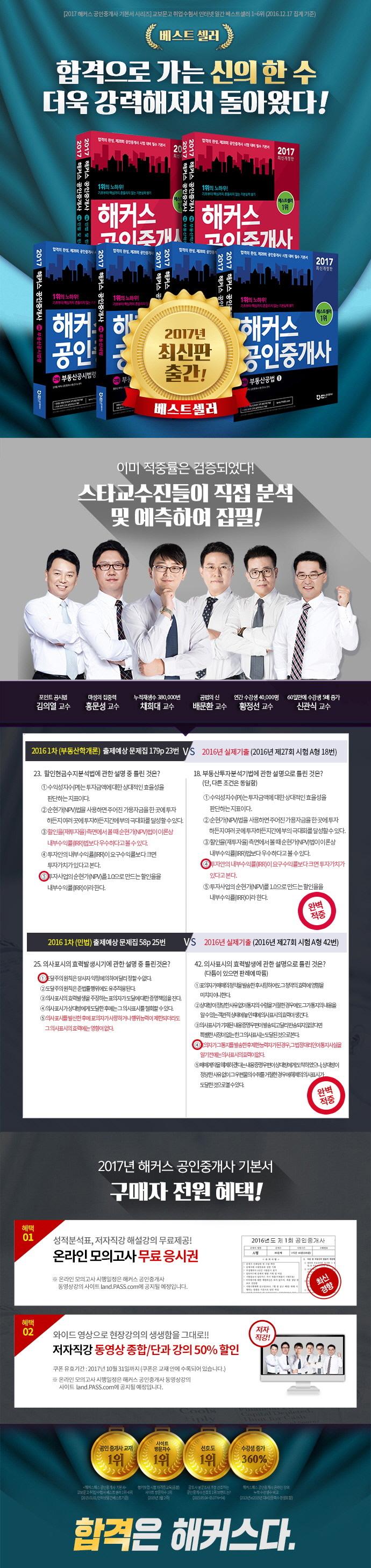 부동산학개론 세트(공인중개사 1차)(2017)(해커스)(개정판)(전2권) 도서 상세이미지