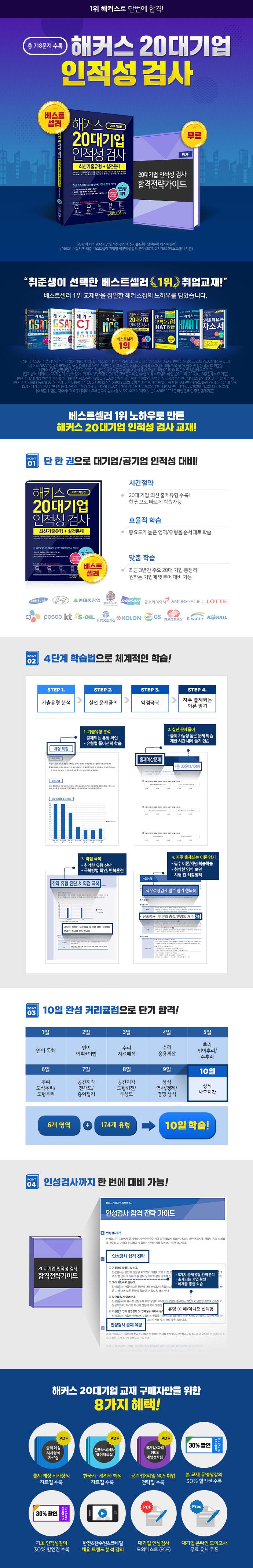 20대기업 인적성 검사 최신기출유형 + 실전문제(2017)(해커스) 도서 상세이미지