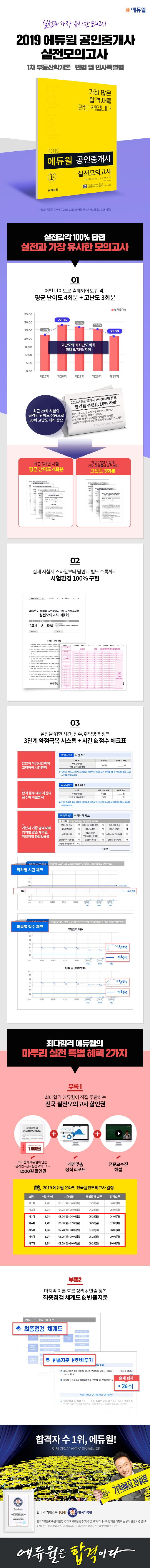 공인중개사 1차 실전모의고사(2019)(8절)(에듀윌) 도서 상세이미지