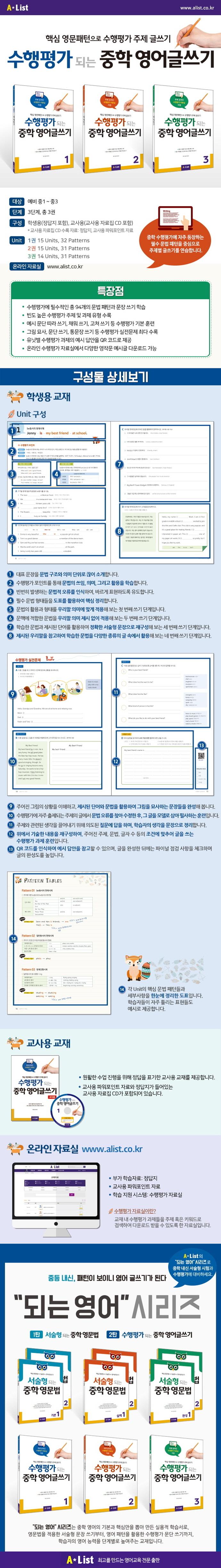 수행평가 되는 중학 영어글쓰기. 3(교사용)(CD1장포함) 도서 상세이미지
