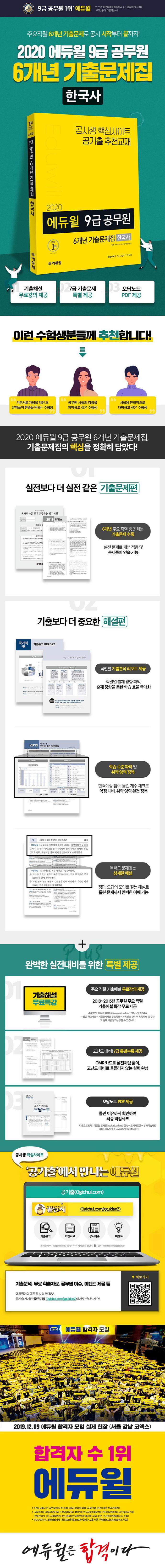 한국사 6개년 기출문제집(9급 공무원)(2020)(에듀윌) 도서 상세이미지