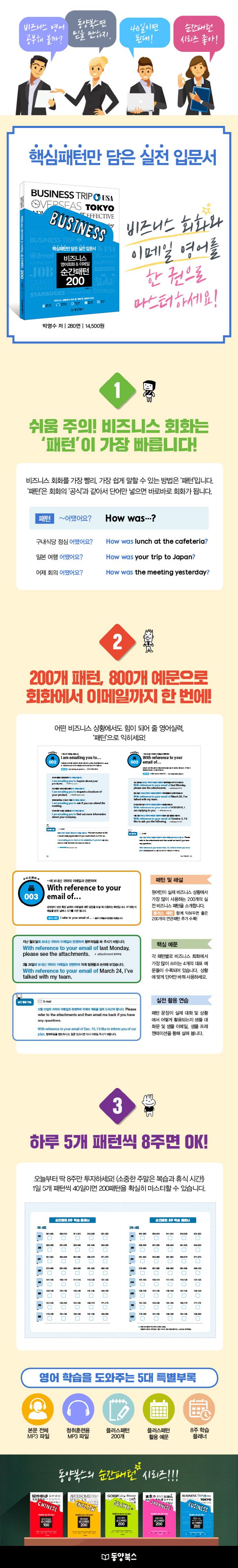 비즈니스 영어회화 & 이메일 순간패턴 200(CD1장포함) 도서 상세이미지