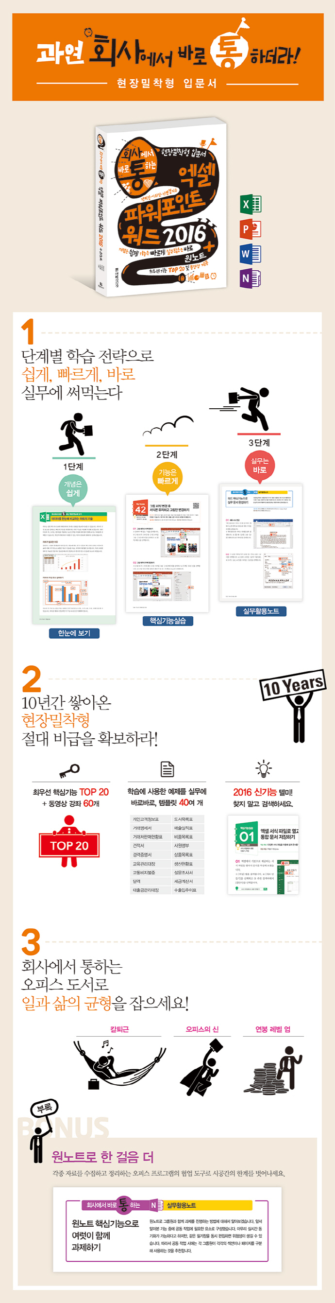 엑셀 파워포인트 워드 2016 + 원노트(회사에서 바로 통하는) 도서 상세이미지