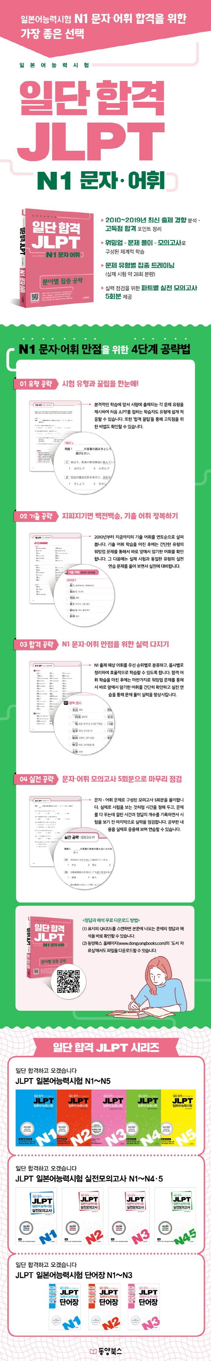 일단 합격 JLPT 일본어능력시험 N1 문자·어휘 도서 상세이미지