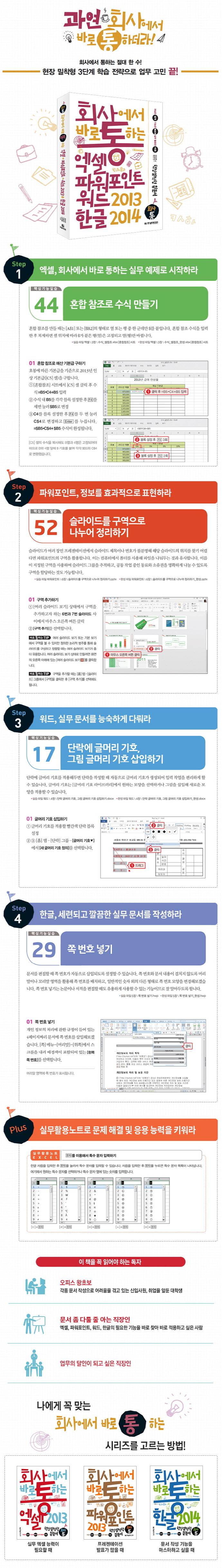 엑셀+파워포인트+워드 2013 & 한글 2014(회사에서 바로 통하는) 도서 상세이미지