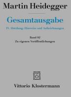 Martin Heidegger, Zu Eigenen Veroffentlichungen