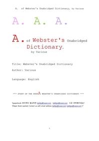 웹스터사전의 A 단어. A. of Webster's Unabridged Dictionary, by Various