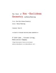 비 유클리드 기하학. Non -Euclidean Geometry ,byHenryManning