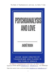 정신분석학과 사랑.The Book of Psychoanalysis and Love, by Andre Tridon