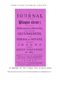 흑사병 전염병시대의 논문집.The Book of A Journal of the Plague Year, by Daniel Defoe