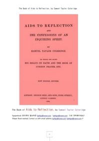 격언의 회상에대한 도움책. The Book of Aids to Reflection, by Samuel Taylor Coleridge
