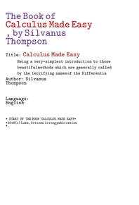 쉽게만든 미적분학 수학.The Book of Calculus Made Easy, by Silvanus Thompson