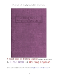 영어로 글쓰기의 처음시작책. A First Book in Writing English, by Edwin Herbert Lewis