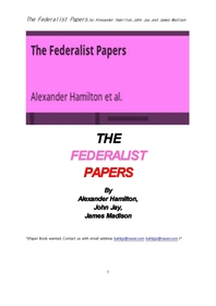 연방주의자 논집 文集 .The Federalist Papers,by Alexander Hamilton,John Jay,and James Madison