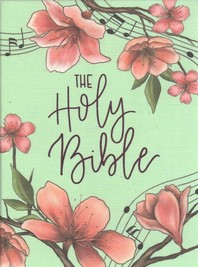 Niv, Artisan Collection Bible, Cloth Over Board, Turquoise Floral, Designed Edges Under Gilding, Red Letter Edition, Comfort Print