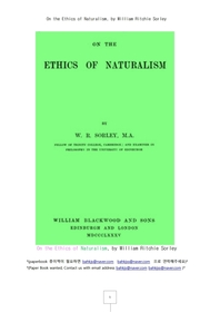 자연주의의 윤리론.On the Ethics of Naturalism, by William Ritchie Sorley