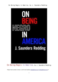 미국에서 흑인으로 삶을 산다는 것.On Being Negro in America, by J. Saunders Redding