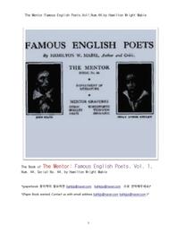 영국의 유명한 시인들.제1권.The Mentor:Famous English Poets,Vol1,Num.44,by Hamilton Wright Mabie