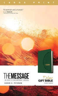 [해외]The Message Deluxe Gift Bible, Large Print (Leather-Look, Green)