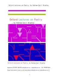 시 론의 옥스포드 강의.Oxford Lectures on Poetry, by Andrew Cecil Bradley