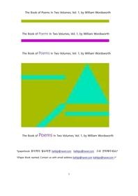 워드워스 시집. 1(The Book of Poems In Two Volumes, Vol. 1, by William Wordsworth)