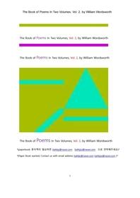 워드워스의 시집. 2(The Book of Poems In Two Volumes, Vol. 2, by William Wordsworth)