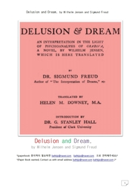 꿈 과 망상.Delusion and Dream, by Wilhelm Jensen and Sigmund Freud