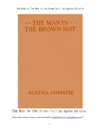 브라운슈이트 갈색옷을 입은 남자.The Book of The Man in the Brown Suit, by Agatha Christie