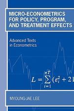 [해외]Micro-Econometrics for Policy, Program, and Treatment Effects