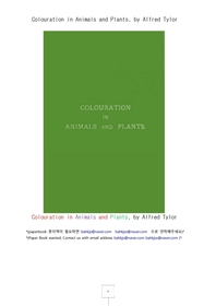 동물과 식물들의 천연색.Colouration in Animals and Plants, by Alfred Tylor