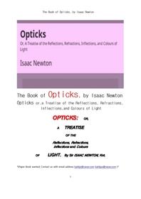 뉴톤의 광학.The Book of Opticks, by Isaac Newton
