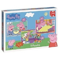 Jumbo 18481 Peppa Pig Trio Jigsaw Puzzles in A Box (6/9/12 Pieces)
