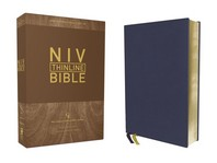 Niv, Thinline Bible, Genuine Leather, Buffalo, Blue, Red Letter Edition, Comfort Print