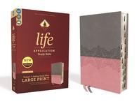 [해외]Niv, Life Application Study Bible, Third Edition, Large Print, Leathersoft, Gray/Pink, Indexed, Red Letter Edition (Imitation Leather)