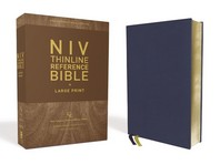 Niv, Thinline Reference Bible, Large Print, Genuine Leather, Buffalo, Blue, Red Letter Edition, Comfort Print