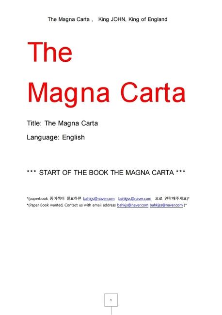 대헌장.마그나카르타. The Magna Carta , King JOHN, King of England
