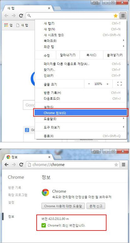 Chrome 정보 클릭