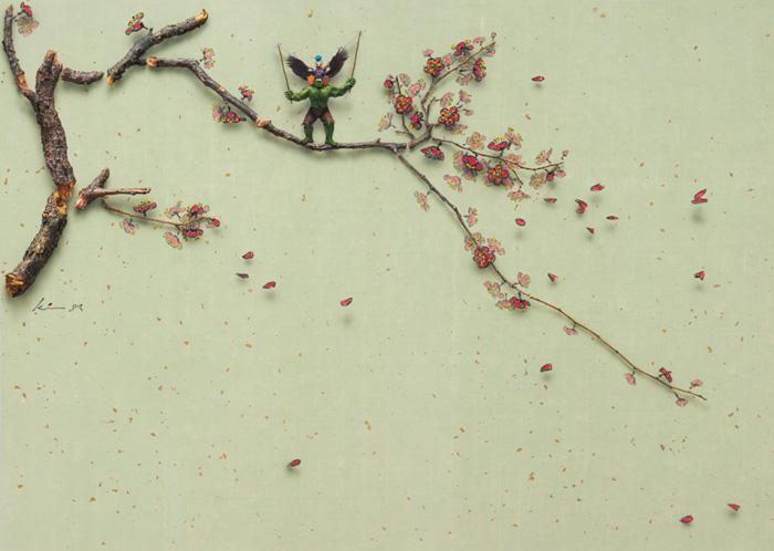 김준식, <梅花-狐假虎威(호가호위)>, 한지에 유채, 50x70 cm, 한지에 유채, 2014