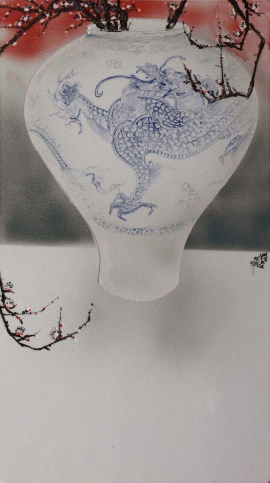오만철, <반추(反芻)>, 백자도판 1,330°C 환원 소성, 44X81 cm, 2015