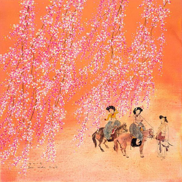 최한동, <어쩐지..봄바람(혜원과 나)>, 천에 혼합재료, 68X68cm, 2015